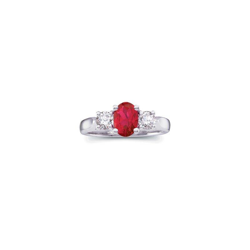 Ladies' Jewelry Genuine Ruby & Diamond Ring