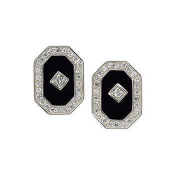 Genuine Onyx & Cubic Zirconia Earrings
