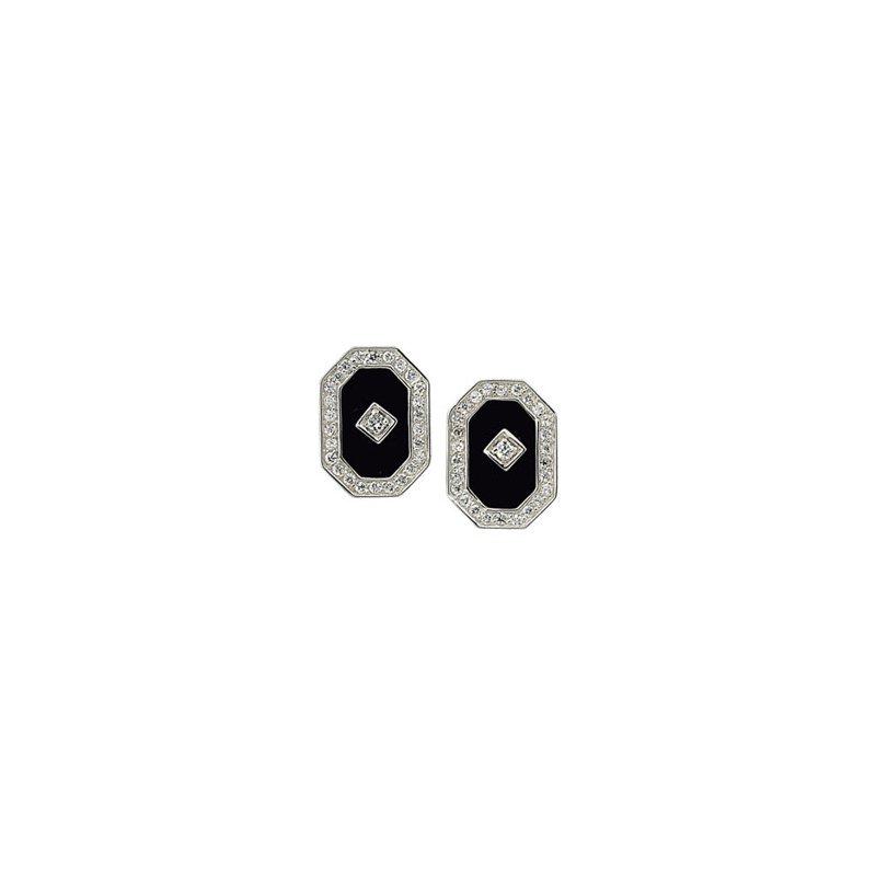Ladies' Jewelry Genuine Onyx & Cubic Zirconia Earrings