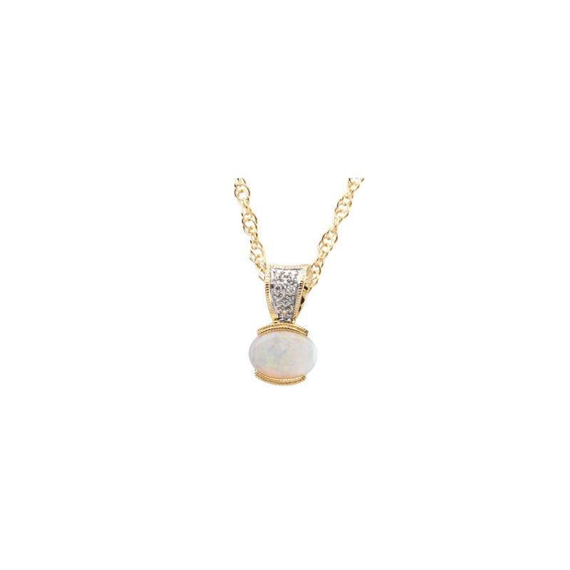 Holiday Ideas Genuine Opal & Diamond Pendant