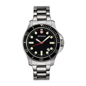 Wenger Mens Black Battalion III Diver Watch