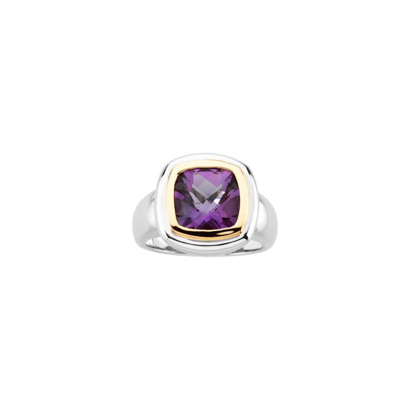 Ladies' Jewelry Genuine Checkerboard Amethyst Ring