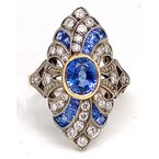 Estate & Vintage Vintage Lady's White Gold, Diamond and Sapphire Cocktail Ring