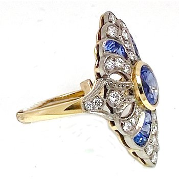 Vintage Lady's White Gold, Diamond and Sapphire Cocktail Ring