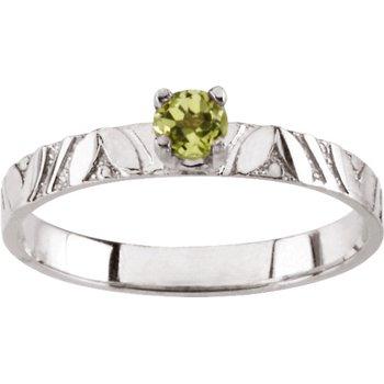 Children's Genuine Peridot August Birthstone Ring