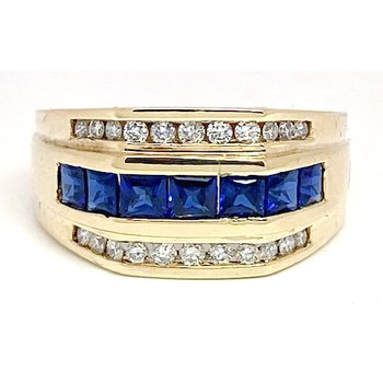 Vintage sapphire, diamond and yellow gold ring