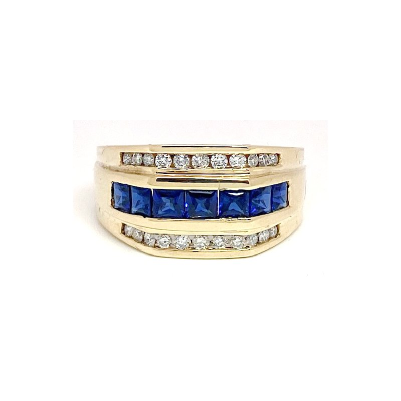 Estate & Vintage Vintage sapphire, diamond and yellow gold ring