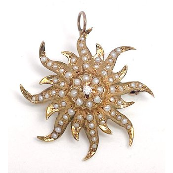 Lady's Victorian design, diamond, seed pearl, and yellow gold star pendant and brooch