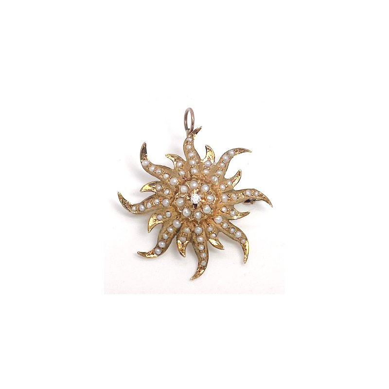 Estate & Vintage Lady's Victorian design, diamond, seed pearl, and yellow gold star pendant and brooch