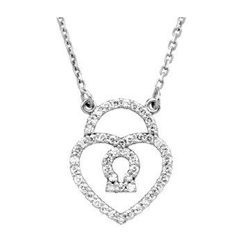 Diamond Heart Lock Necklace