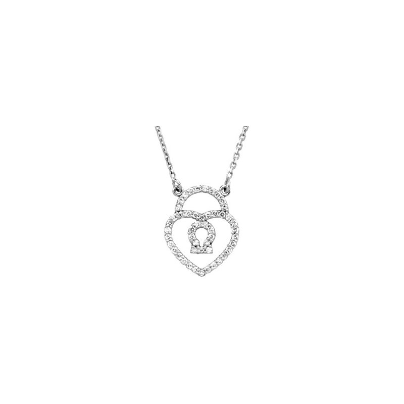 Ladies' Jewelry Diamond Heart Lock Necklace