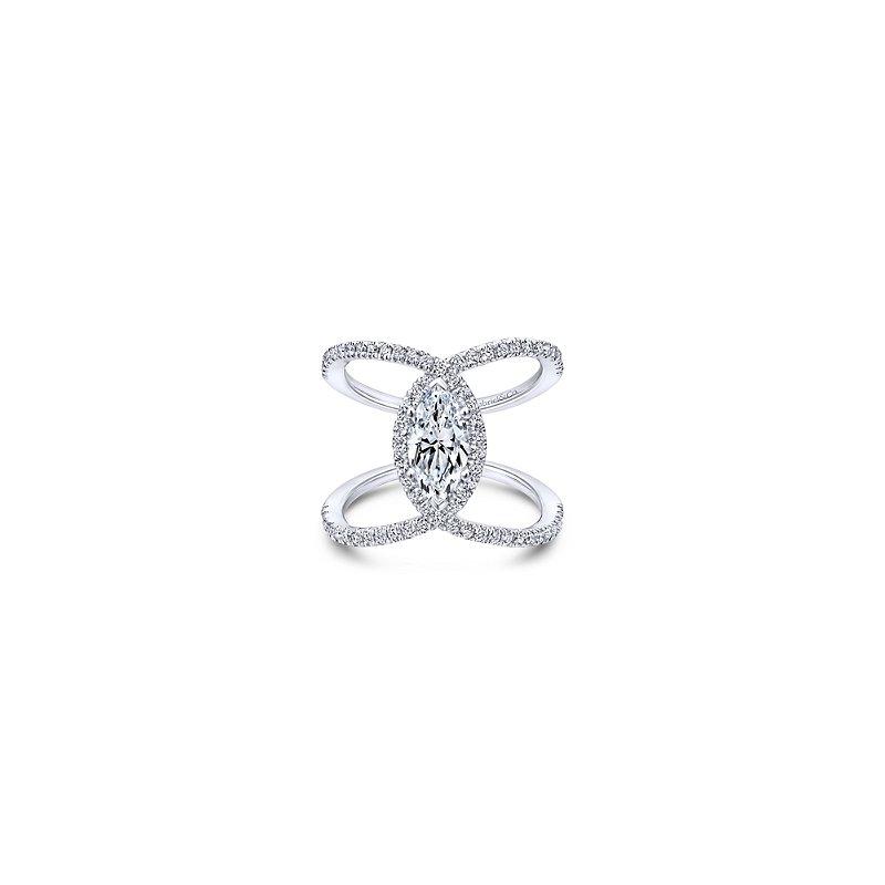 Gabriel Bridal 14K White Gold Marquise Halo Diamond Engagement Ring