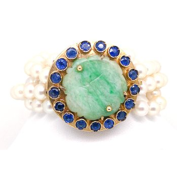 Lady's vintage jade, sapphire and cultured pearl, yellow gold bracelet