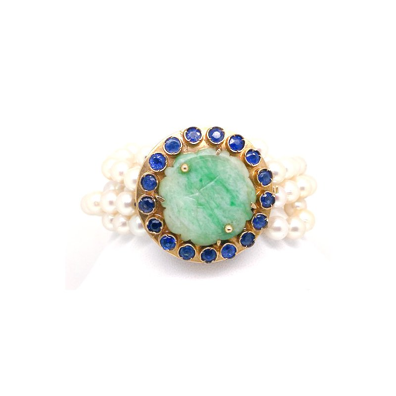 Estate & Vintage Lady's vintage jade, sapphire and cultured pearl, yellow gold bracelet
