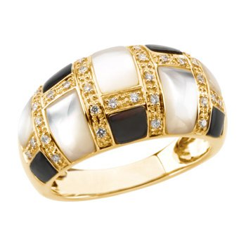 Genuine Mother of Pearl & Diamond Ring