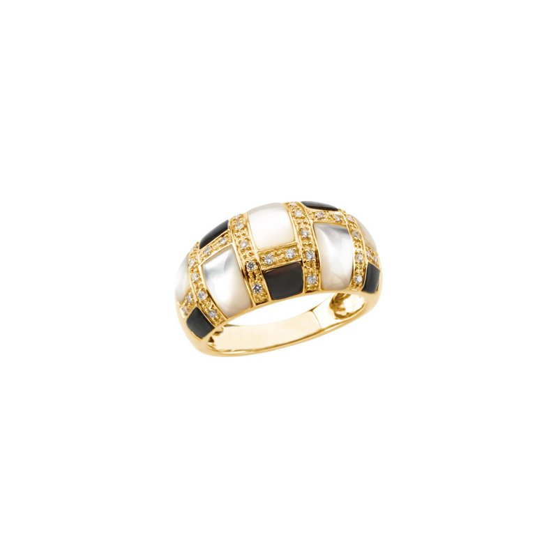 Holiday Ideas Genuine Mother of Pearl & Diamond Ring