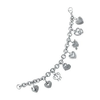 Cubic Zirconia Heart Charm Bracelet