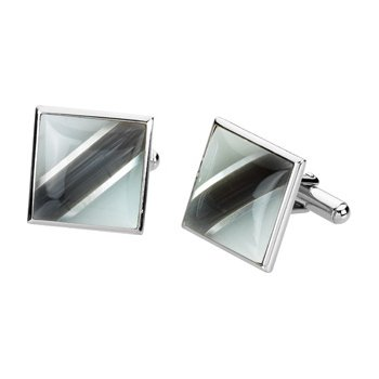 Men's Genuine Mother of Pearl & Fiber Optical Glass Cuff Links