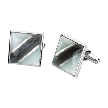 Men's Genuine Mother of Pearl & Fiber Optical Glass Cuff Links