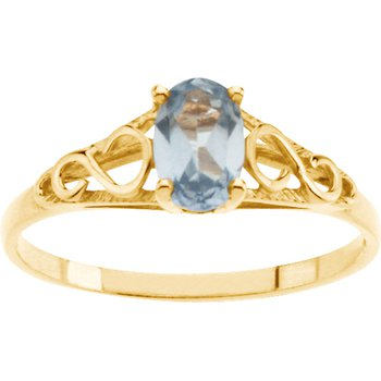 Teen Imitation March Birthstone Ring