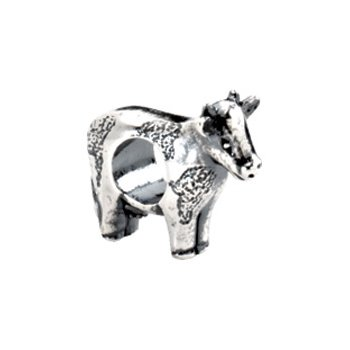 Kera Sterling Silver Cow Bead