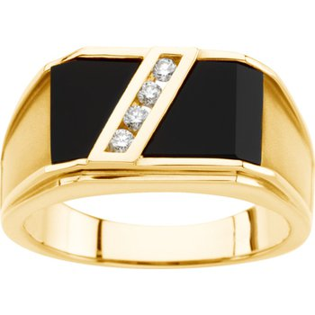 Genuine Onyx & Diamond Ring