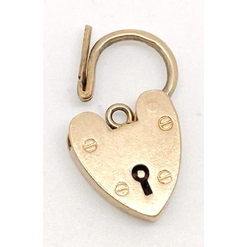 Vintage yellow gold heart lock pendant or clasp
