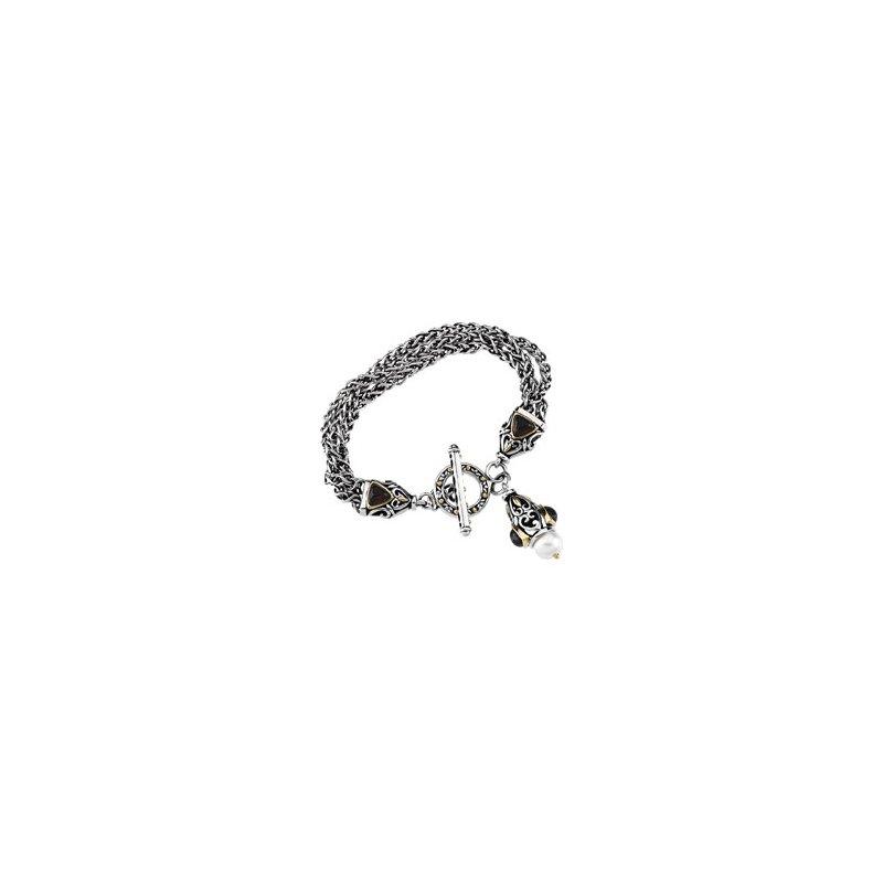 Ladies' Jewelry Freshwater Cultured Pearl & Mozambique Garnet Bracelet