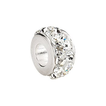 Kera Sterling Silver Roundel Bead with Pave' Crystals