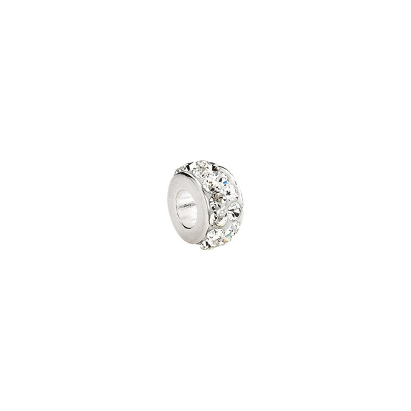 Holiday Ideas Kera Sterling Silver Roundel Bead with Pave' Crystals