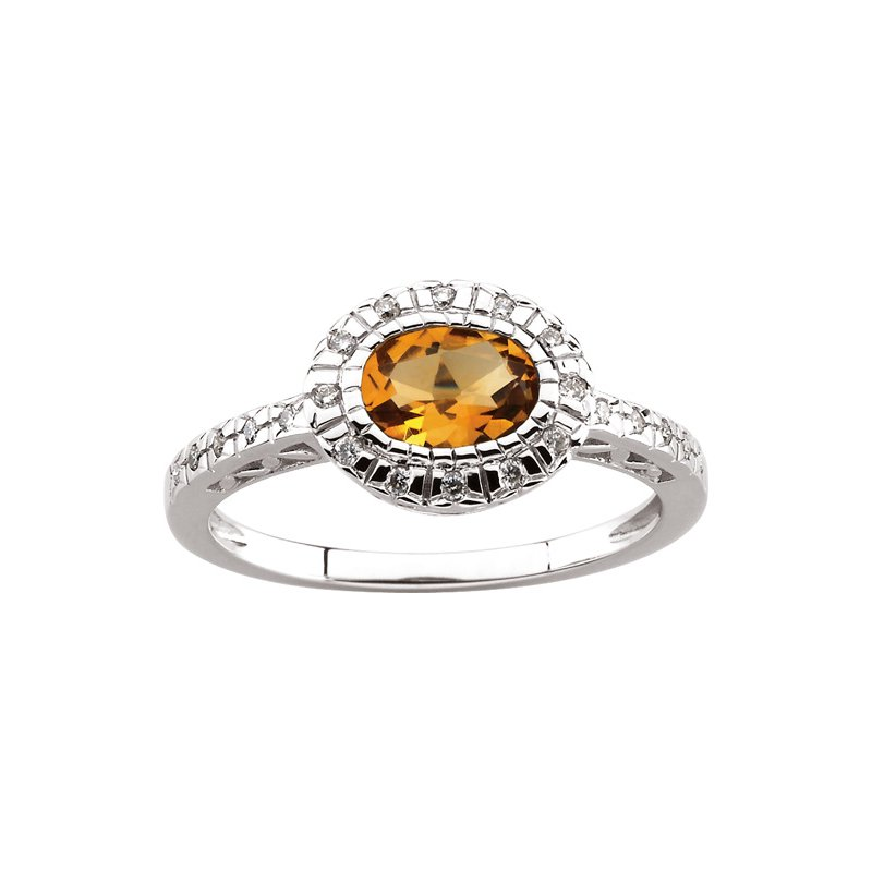 Ladies' Jewelry Genuine Citrine & Diamond Ring