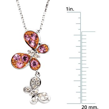 Genuine Pink Sapphire & Diamond Butterflies Necklace