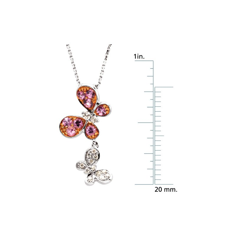 Ladies' Jewelry Genuine Pink Sapphire & Diamond Butterflies Necklace
