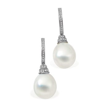 South Sea Cultured Pearl & Diamond Earrings