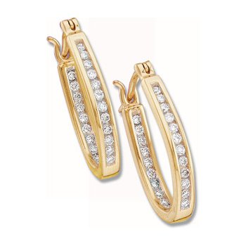1/4 ct tw Diamond Inside-Outside Hoop Earrings