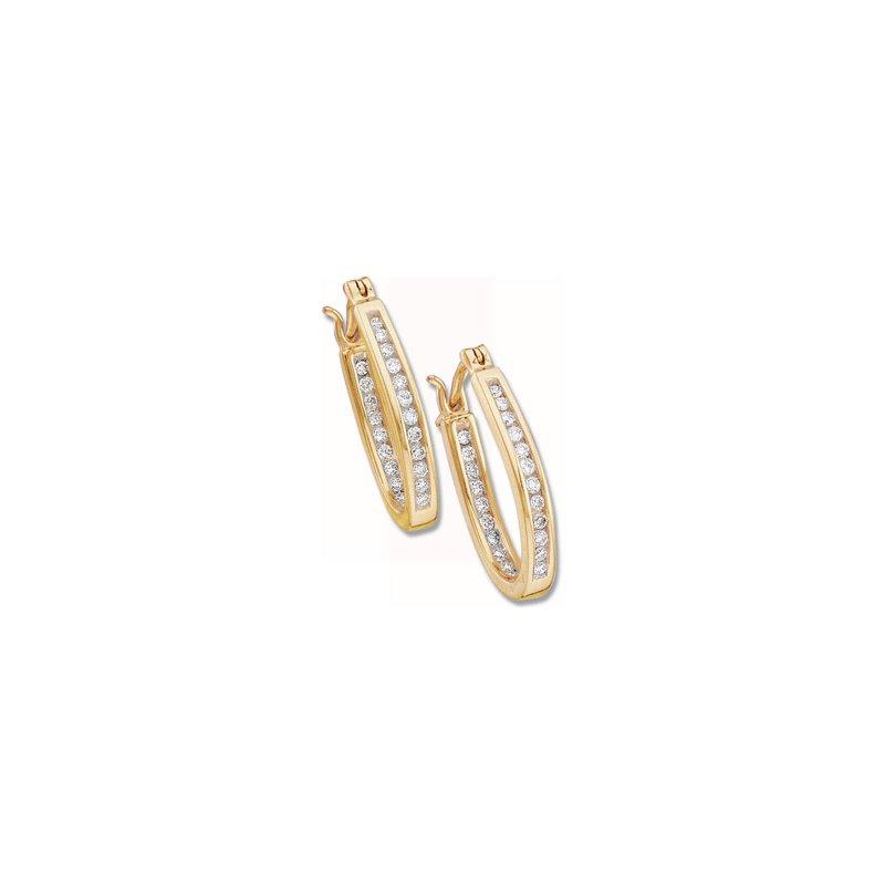 Ladies' Jewelry 1/4 ct tw Diamond Inside-Outside Hoop Earrings