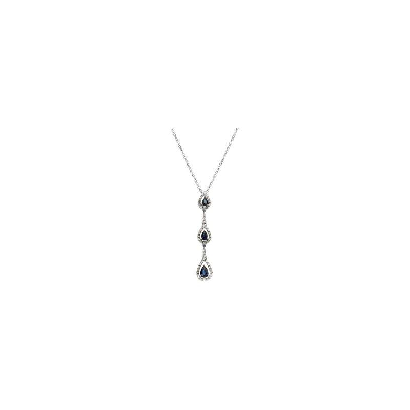 Ladies' Jewelry Genuine Blue Sapphire & Diamond Necklace