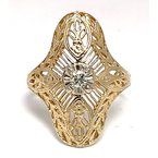 Estate & Vintage Lady's vintage Art Deco design diamond and two-tone ring
