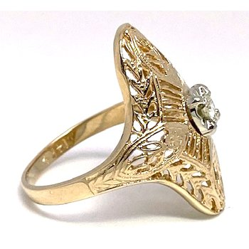 Lady's vintage Art Deco design diamond and two-tone ring