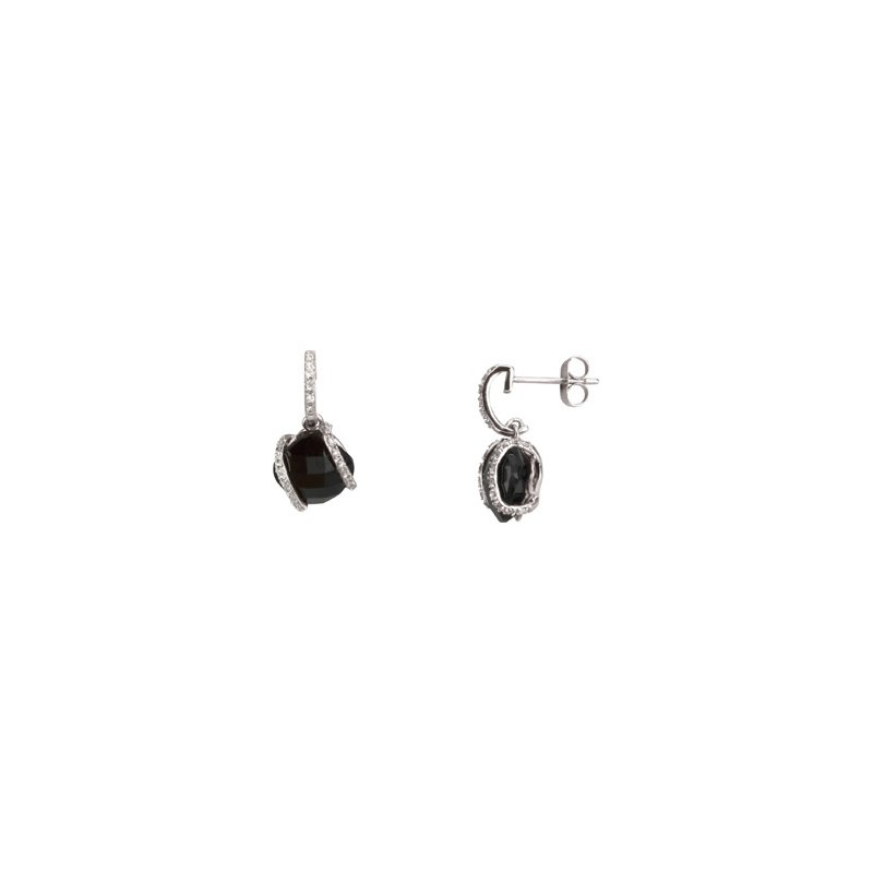 Holiday Ideas Genuine Onyx & Diamond Earrings