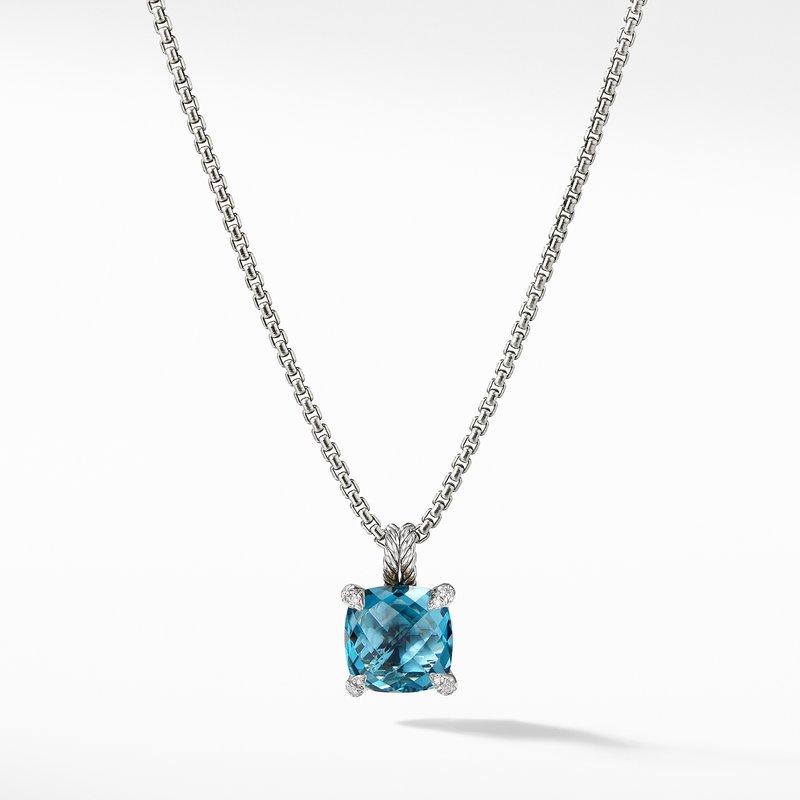 David Yurman Pendant Necklace with Hampton Blue Topaz and Diamonds