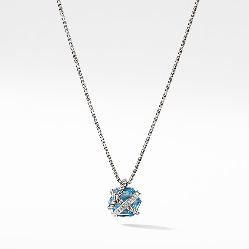 David Yurman Cable Wrap Necklace with Blue Topaz and Diamonds