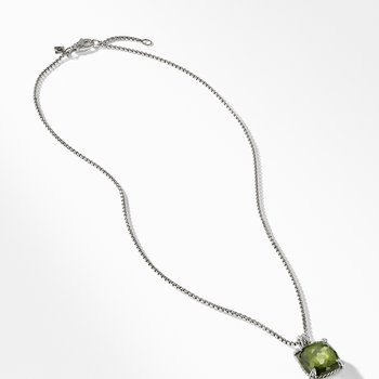 Pendant Necklace with Green Orchid and Diamonds