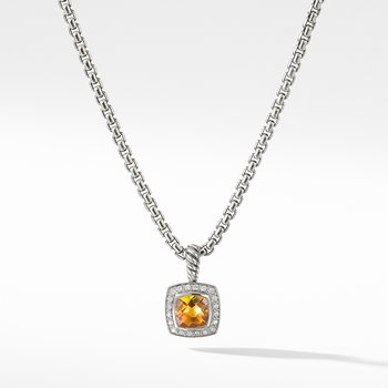 Pendant Necklace with Citrine and Diamonds