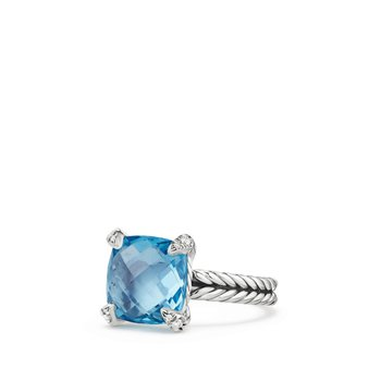 Chatelaine® Ring with Blue Topaz and Diamonds, 11mm