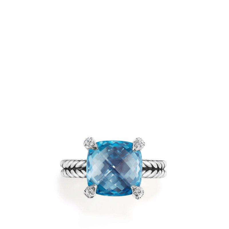 David Yurman Chatelaine® Ring with Blue Topaz and Diamonds, 11mm