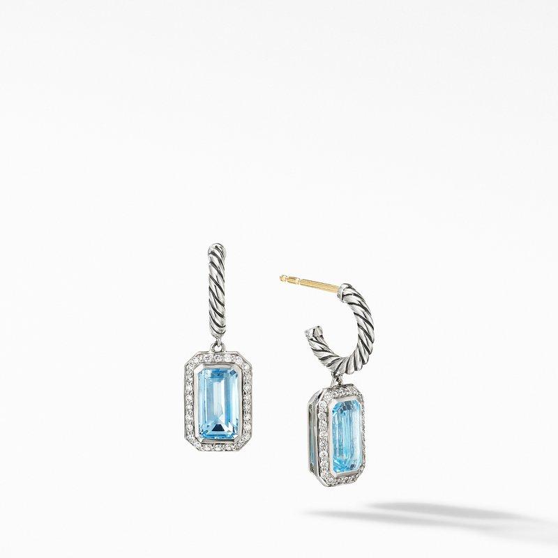 David Yurman Novella Drop Earrings with Blue Topaz and Pavé Diamonds