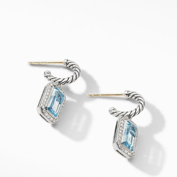 Novella Drop Earrings with Blue Topaz and Pavé Diamonds