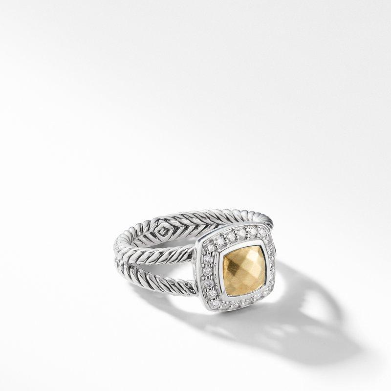 David Yurman Petite Albion® Ring with 18K Gold Dome and Diamonds