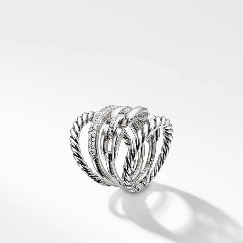 David Yurman Wellesley Link™ Four-Row Ring with Diamonds